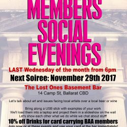 Ballarat Arts Alive Member Social evening Lost Ones Gallery